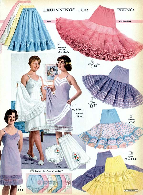 Cute petticoats and slips from Alden's catalog.  //  Interesting white trim on the purple slip!