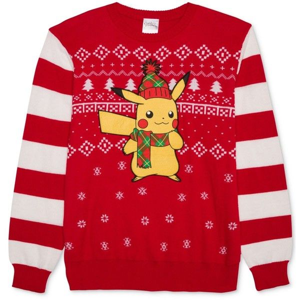 Hybrid Men's Pikachu Holiday Sweater ($20) ❤ liked on Polyvore featuring men's fashion, men's clothing, men's sweaters, red, mens sweaters, mens graphic sweaters, mens holiday sweaters, mens fair isle sweater and mens red sweater