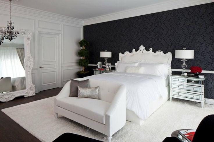 ... peint-noir-motif-baroque-chambre-coucher-lit-canape-blanc papier peint