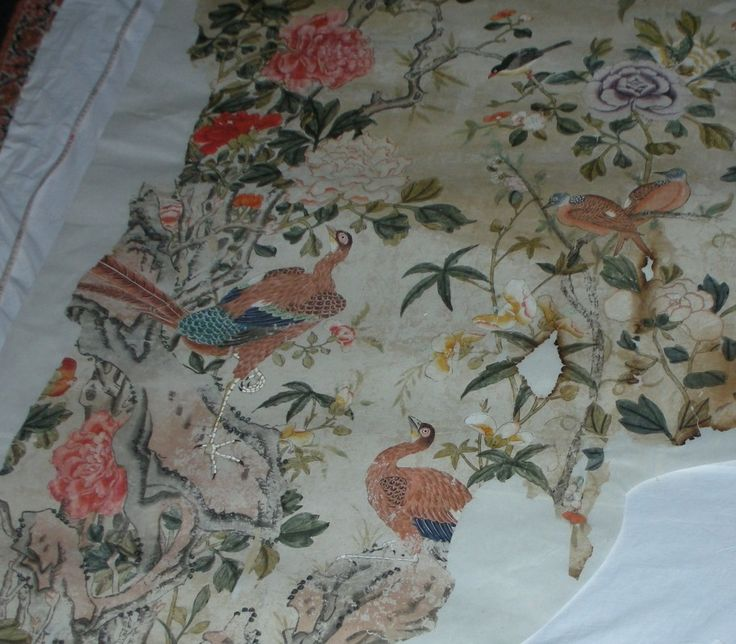 Part of a fragment of Chinese wallpaper from the Little Parlour at Uppark, inv. no. 138491. ©National Trust/Sarah Foster