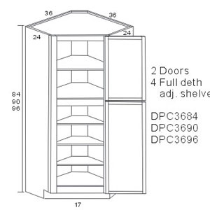 Lexington diagonal corner pantry cabinets storage solution for Wickes kitchen cabinet sizes