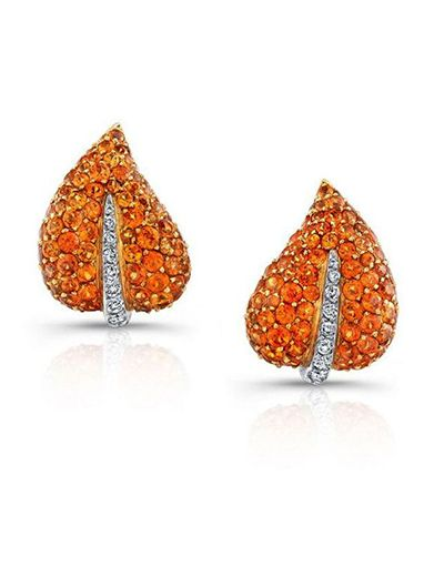 Orange Sapphire & Diamond Ivy Clip-On Earrings #jewelry #finejewelry…