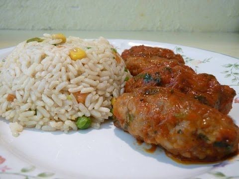 Τhecook.gr - Κεφτεδάκια με σάλτσα ντομάτα και ρύζι μπασμάτι - YouTube