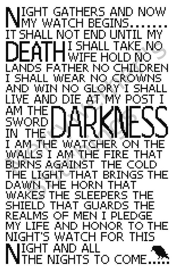 Game of Thrones  Night's Watch Oath  Cross Stitch by merrywether99, $4.50