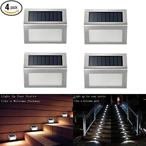 Solar Deck Lights, iThird 3 LED Solar Powered Step Lights Stainless Steel Outdoor Lighting for Steps Paths Patio Stair Auto On/Off Waterproof 4 Pack - Brighter Solar Step Light Luminous: Upgraded Version : 24LM; Old Version: 16LM Longer work hours Solar Stair Light Upgraded Version: 8-12H; Old Version: 6-9H (battery full charge) Longer lifespan Solar Step Light Upgraded Version: 30000H; Old Version: 20000H iThird solar powered ultra-bright led ...