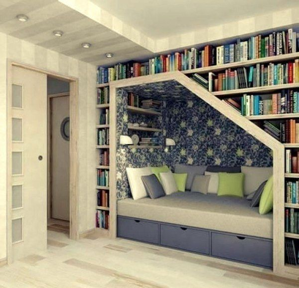 Great idea for guest room, without having the bed take up space and great storage for books without adding more furniture! Perfect!