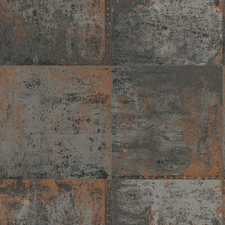 Bang on trend is this industrial-looking copper plate wallpaper from the Statement feature wall collection. Slightly textured metallic copper on a flat matt grey background.
