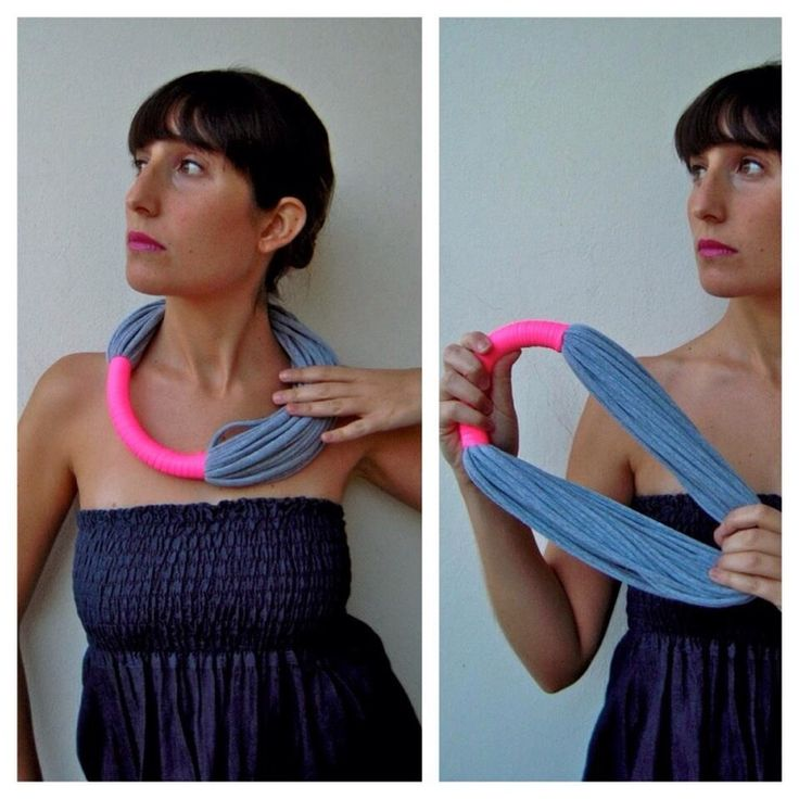 Light, cool and very soft necklace made with two jersey fabrics, one grey color and the other neon pink.