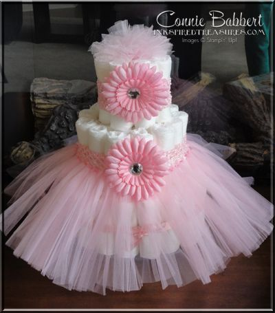 Tutu Diaper Cake, Baby Shower, baby girl, see my blog for other baby shower decorations including a Tutu Chair fit for a princess.  Connie Babbert, www.inkspiredtreasures.com, Stampin' Up! Demonstrator
