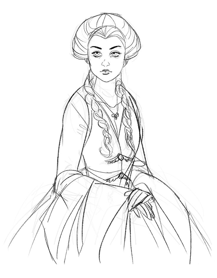 Line Drawing Game : Sansa game of thrones coloring pages
