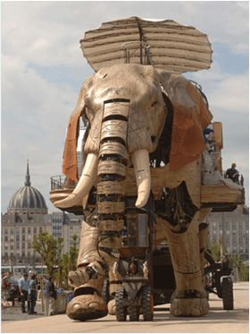 Nantes, France, sure knows how to pay homage to the mind of fellow countryman Jules Verne with this steampunk creation: a magnificent 12 meter high by 8 meter wide mechanical elephant made from 45 tons of reclaimed materials such as wood and steel: