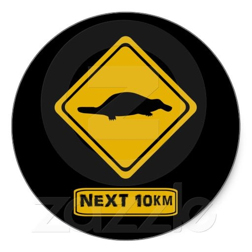 platypus road sign sticker