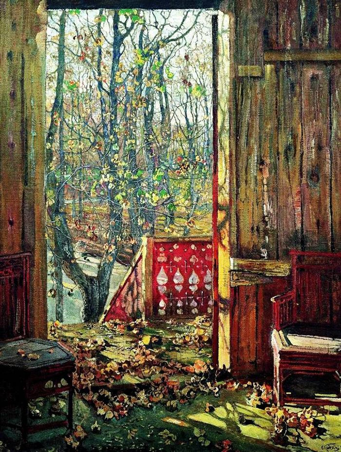 «Fallen Leaves» is one of the most famous works of Isaac Brodsky, yet landscapes for him were a rare occurrence. The bulk of the artist's pictures were portraits of Soviet leaders, especially Vladimir Lenin and Joseph Stalin. // Isaac Brodsky, «Fallen Leaves», 1913