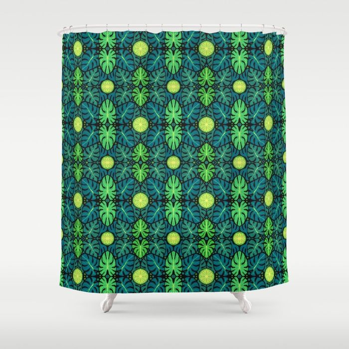 Buy Monstera leaves, floral pattern, black, green & turquoise Shower Curtain by clipsocallipso. Worldwide shipping available at Society6.com. Just one of millions of high quality products available.