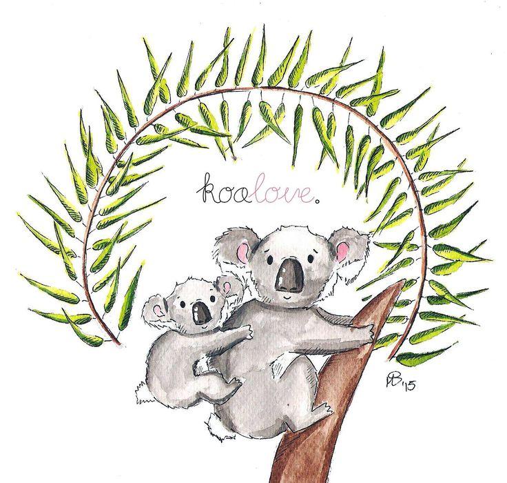 coalove - cute coalas, love, watercolors