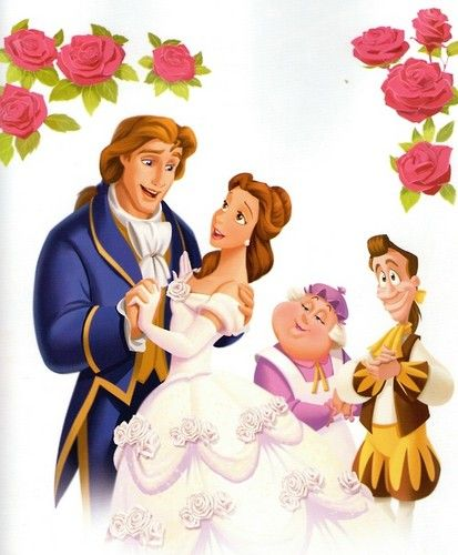 Belle and Adam with Lumiere and Mrs. Potts.