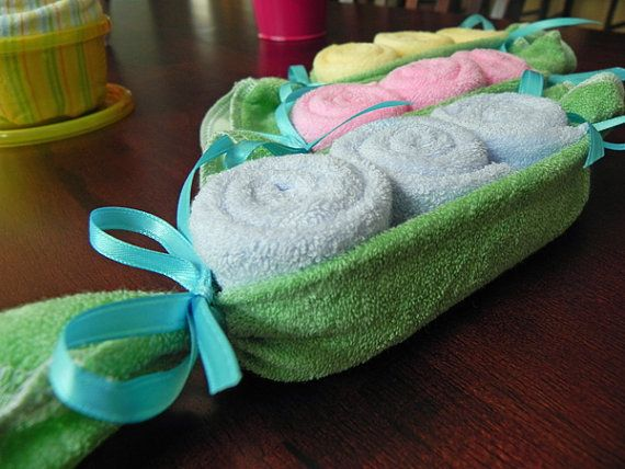 baby washcloth pea pod. I think I would use more washcloths and a towel to hold more.