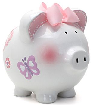 Shimmering Butterflies Large Piggy Bank (Personalization available) :: For That Occasion
