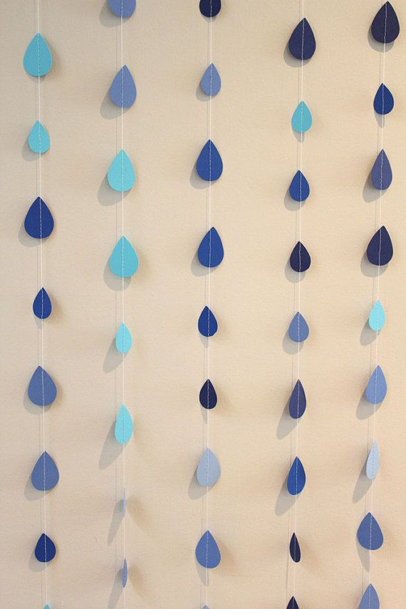 It's Raining, It's Pouring Raindrop Paper Garland - April Showers, Baby Showers, party decorations {1PixiePlace via Etsy}