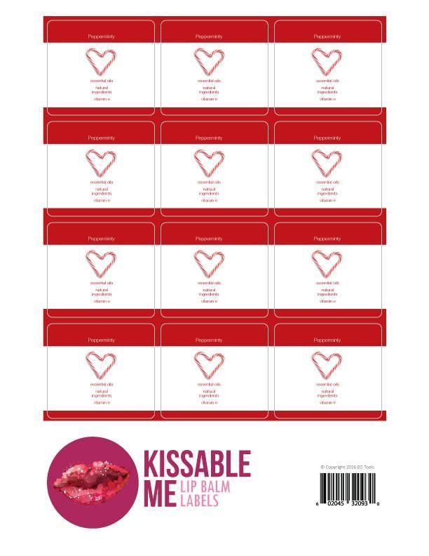 Kissable Me Pepperminty Lip Balm Label Sheet