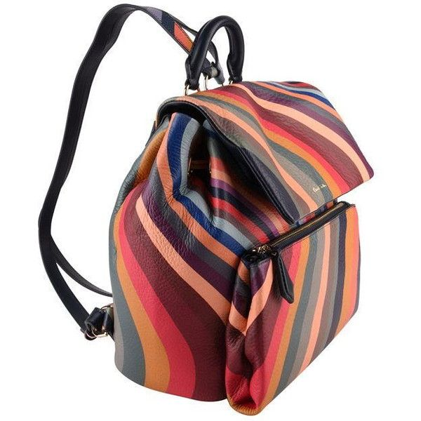 Paul Smith Swirl Small Backpack ($685) ❤ liked on Polyvore featuring bags, backpacks, drawstring backpack, paul smith backpack, leather knapsack, drawstring bags and draw string backpack