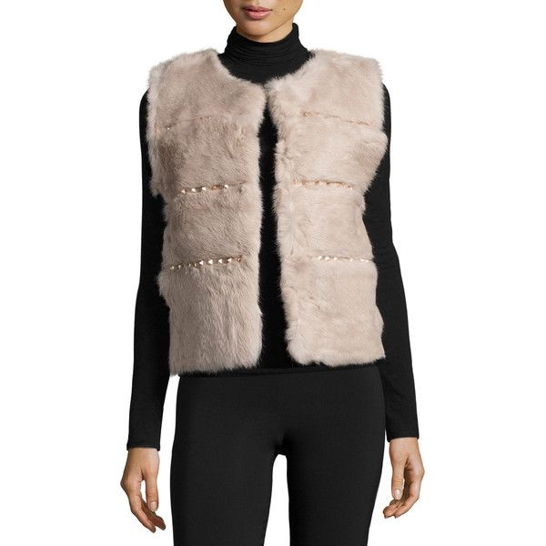 Love Token Rabbit Fur Vest with Studded Trim (14175 RSD) ❤ liked on Polyvore featuring outerwear, vests, blush, vest waistcoat, sleeveless vest, sleeveless waistcoat, rabbit vest and rabbit fur vest