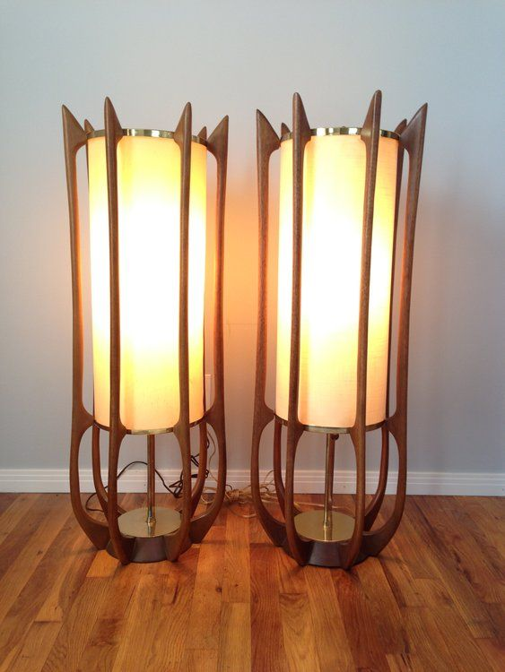 Pair Of Sculptural Mid Century Lamps