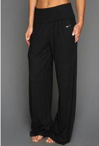 Comfy Nike yoga sweats. These will be my dress sweats.Ace wide yoga pant item #531109-010, find at Nike in California Vacaville  707-455-7014