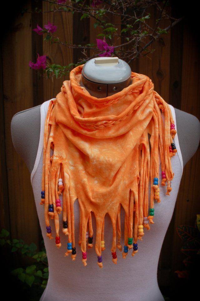 loop schal selber machen orange fransen bunte perlen