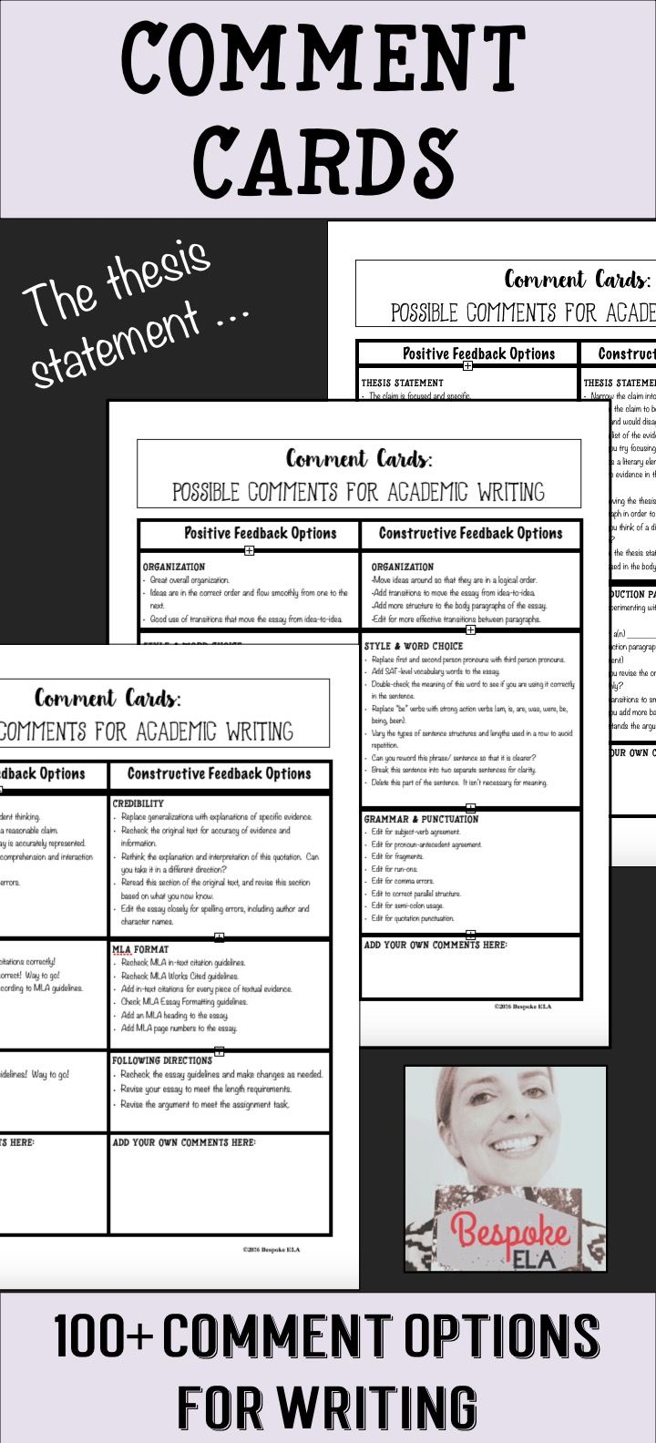 "This product by Bespoke ELA contains a handout with five tips for writing effective comments during peer revision and coaches students on how to go about giving thoughtful, quality feedback on academic essays in a supportive and encouraging manner.   Then, there are ""Comment Cards"" that are divided according to targeted writing skills that give students a menu of options for giving positive comments and constructive criticism. This is a great addition to any Writing Workshop!"