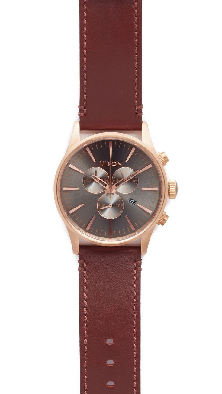 NIXON The Sentry Chronograph Leather Watch. #nixon #watch
