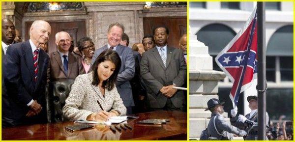 A la izquierda, la gobernadora de Carolina del Sur, Nikki Haley, firma la ley ante la mirada de ex gobernadores del estado, que permite el retiro de la bandera confederada de terrenos del Capitolio estatal, la que fue arriada este viernes (foto der).