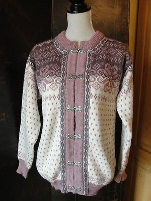 Dale of Norway Womens Pink Purple Wool Sweater Cardigan Sz M/L 44 Large 14/16/18