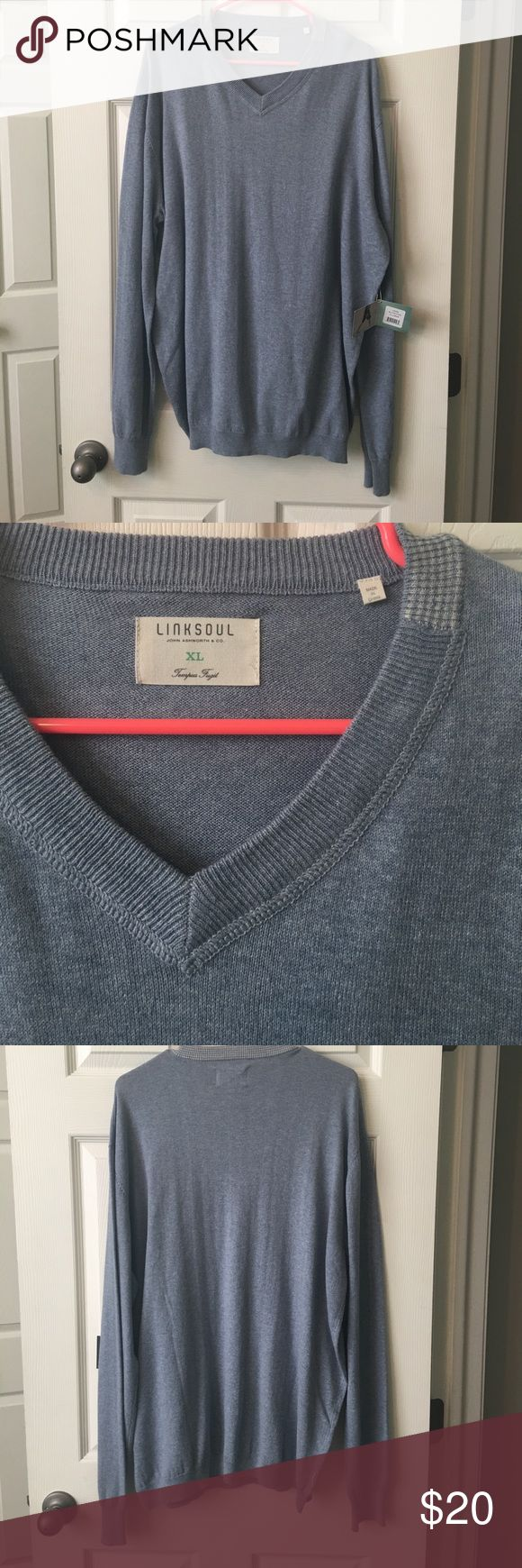 Men's golf Sweater from Linksoul size XL Linksoul men's golf sweater size XL it is a light blue color new with tags. Price is negotiable linksoul Sweaters V-Neck