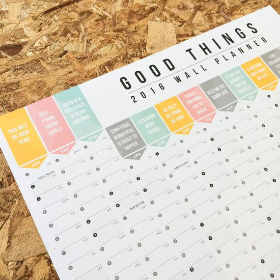 Celebrate the good things in life with this super cheerful 2016 Wall Planner!  Gone are the days when you plan you year according to boring dentist