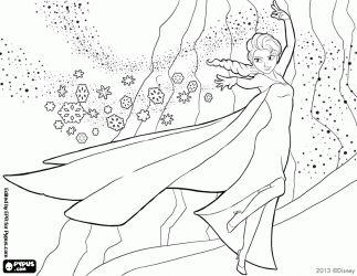 Elsa haar gevaarlijke macht gebruiken voor het maken van ijs en sneeuw kleurplaat