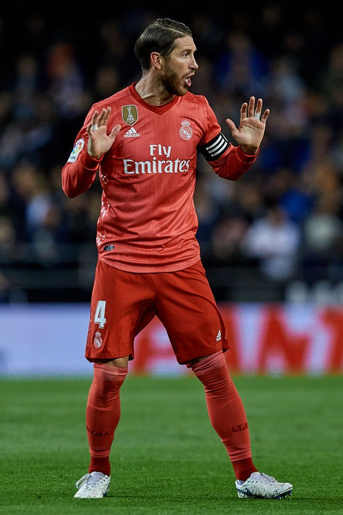 Sergio Ramos Of Real Madrid Cf Reacts During The La Liga Match Sergio Ramos Real Madrid La Liga