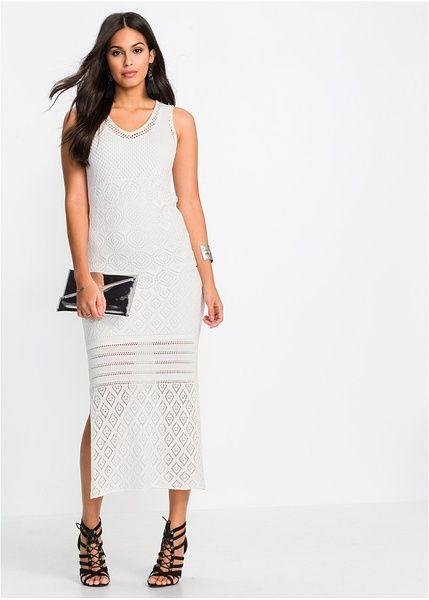 Πλεκτό μακρύ φόρεμα. Με κοντή φόδρα, μέχρι το γόνατο, εσωτερικά και πλαϊνά σκισίματα. Μήκος περίπου 136 εκ. Από 100% βαμβάκι. Φόδρα: Από 100% πολυέστερ.