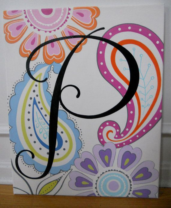 posh large P initial flowers and paisley monogram by poshpaints