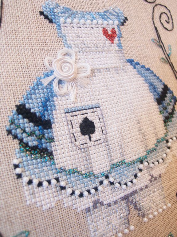 Dress Up: Alice, cross stitch design from Brooke Nolan using Kreinik metallic threads