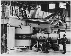 Lawrence's 60 inch cyclotron, with magnet poles 60 inches (5 feet, 1.5 meters) in diameter, at the University of California Lawrence Radiation Laboratory, Berkeley, in August, 1939, the most powerful accelerator in the world at the time. Glenn T. Seaborg and Edwin M. McMillan (right) used it to discover plutonium, neptunium and many other transuranic elements and isotopes, for which they received the 1941 Nobel Prize in physics.