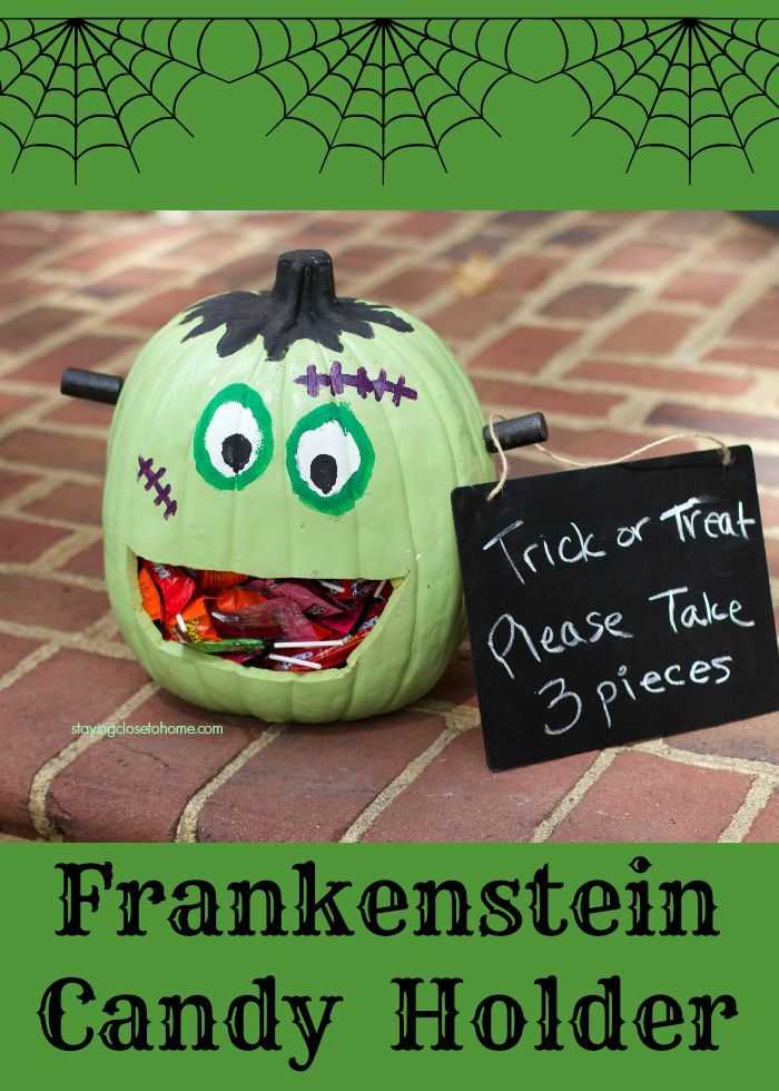 Have a little fun with trick or treaters this Halloween greeting them at the door with this frankenstein pumpkin candy holder filled with Hershey's Candy.