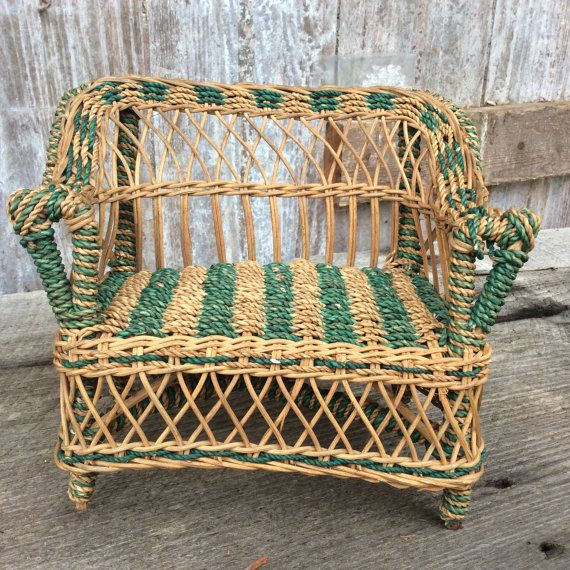 vintage wicker miniature couch by TollBranchFarm on Etsy