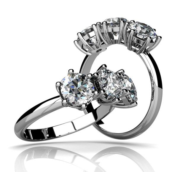 Nice  Kt White gold six prong trilogy diamond engagement ring