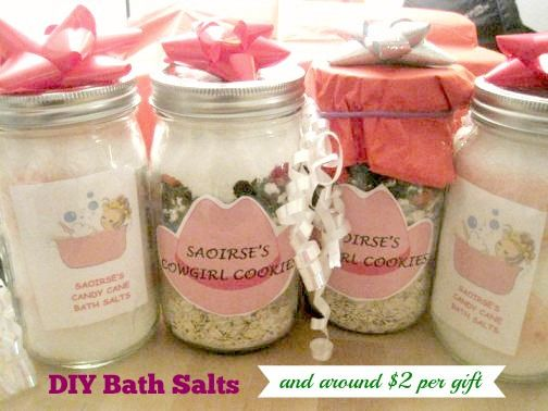 DIY bath salts are so easy and inexpensive to make, what a great gift idea for Christmas, Mother's Day, Valentine's Day, Teachers and more. These will only cost $2-$3 per gift when completed.