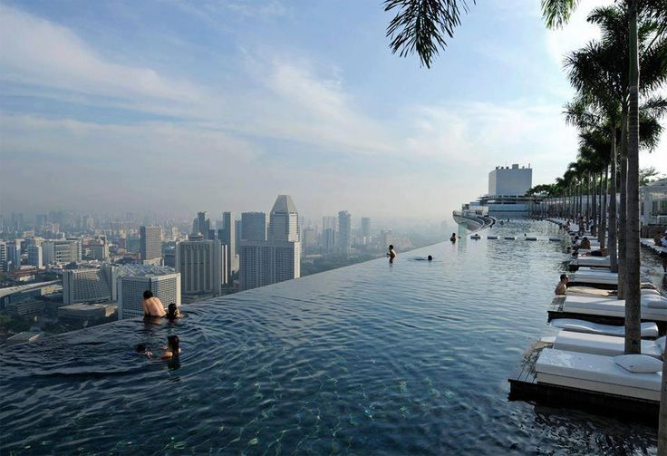 Would you swim in this infinitey edge pool? Marina Bay Sands Skypark, Singapore. www.oneextranight.com