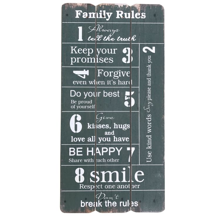 Creative Motion Industries Wooden Sign with Family Rule