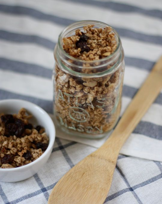 Homemade granola recipe with coconut oil, old-fashioned oatmeal, almond flour, almonds, brown sugar, cinnamon. Great cereal recipe!