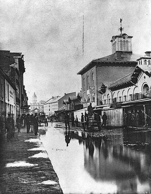 Flood in St. Anne's Market, Montreal, QC, c.1870. #vintage #Canada #Victorian…