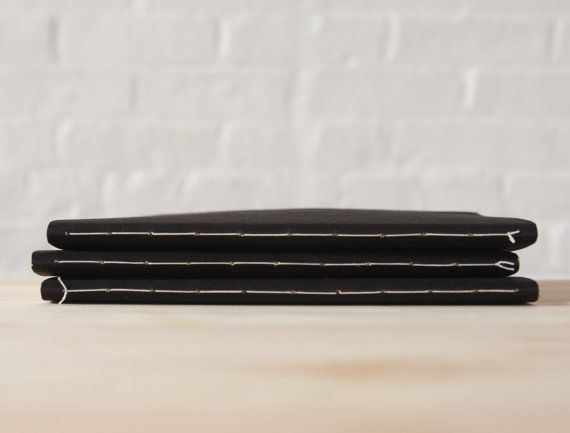 Black Softcover Cloth Notebook  Sketchbook  Journal by knotbooks
